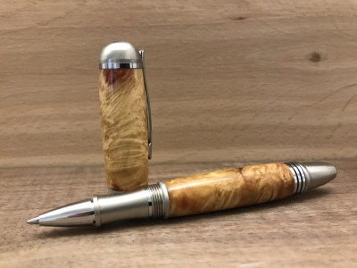 Box Elder Burl Wood with Stainless Steel Body